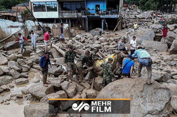 کولمبیا میں شدید بارش کے بعد لینڈ سلائڈنگ