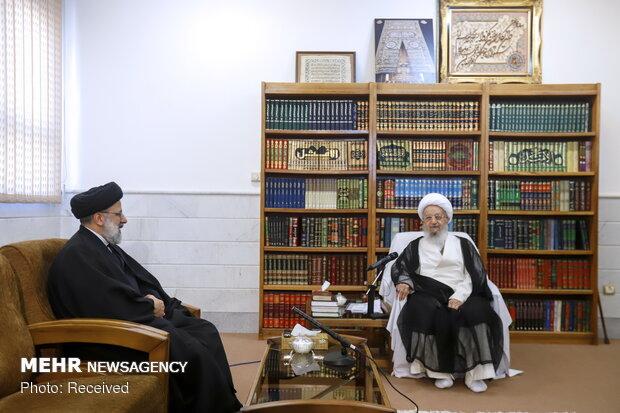 دیدار آیت الله سید ابراهیم رئیسی رئیس قوه قضائیه با مراجع عظام تقلید در قم