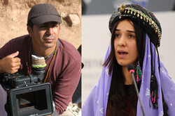 Iranian Kurdish director Jamil Rostami (L) plans to make a film on Nadia Murad (R), the Iraqi Yazidi human rights activist who won the Nobel Peace Prize in 2018.