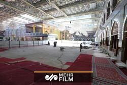 فیلمی از تعویض سنگ صحن حرم حضرت ابوالفضل العباس(ع)