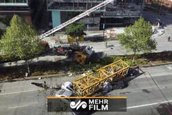 فیلمی از لحظه هولناک سقوط جرثقیل