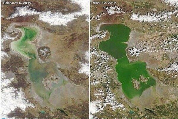 پایش ۴۳ ساله نوسانات دریاچه ارومیه با تصاویر ماهواره ای