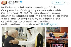 Zarif says he stressed containing unilateralism in meetings on Doha visit