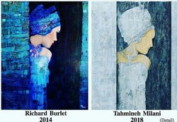 This combination photo shows French artist Richard Burlet's painting copied by Tahmineh Milani.