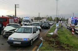 تصادف چند خودرو در مرند یک کشته داد