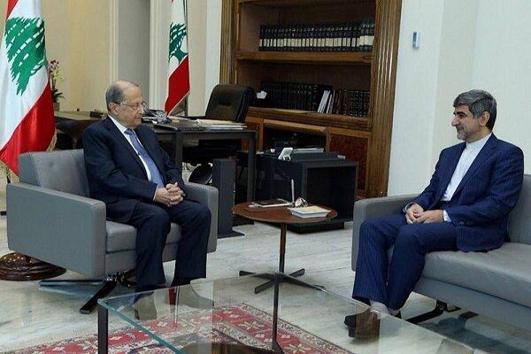 Lebanese President, Iranian envoy discuss bilateral ties
