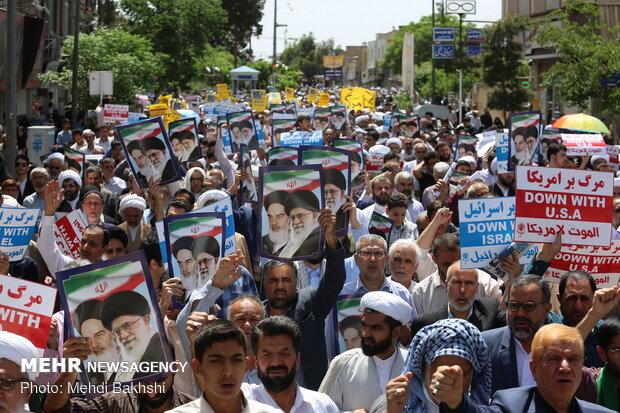 راهپیمایی مردم قم در حمایت از بیانیه شورای عالی امنیت