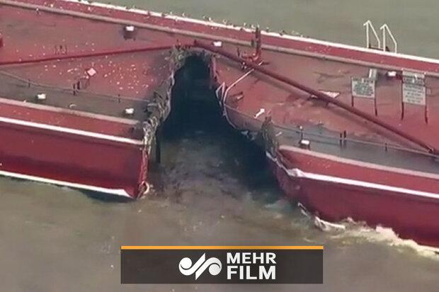 فیلمی از برخورد یک نفتکش با کشتی در آمریکا