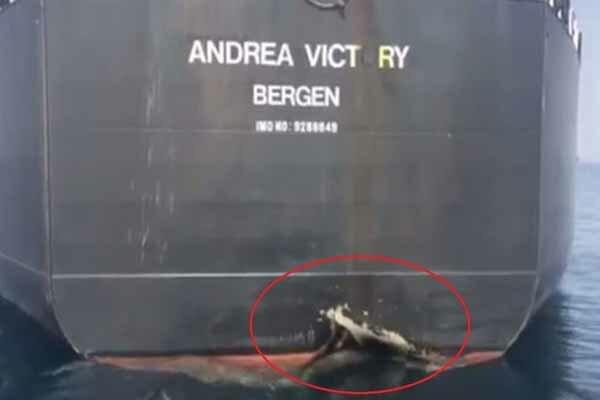 کشتی نروژی پس از حادثه فجیره+ فیلم