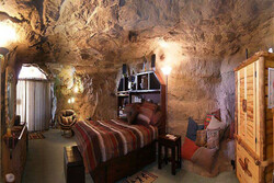 A rock-carved room at the Kandovan Laleh Hotel in Iran's East Azarbaijan province.