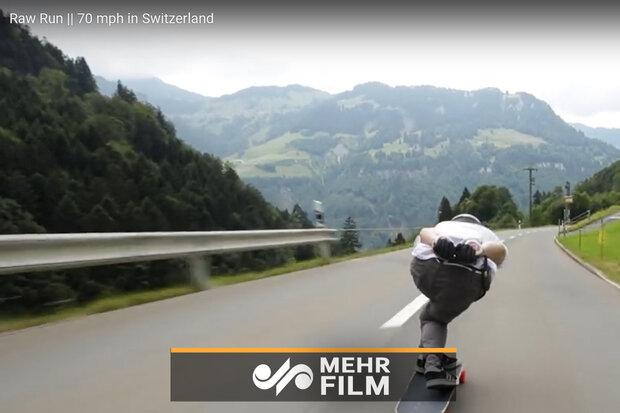 دیوانگی جوان سوئیسی با اسکیت بُرد