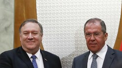 Mike Pompeo met Sergey Lavrov in Sochi to discuss a range of issues including Iran, Venezuela and Ukraine [Pavel Golovkin, Pool/AP]