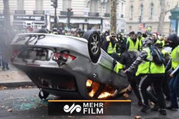 فرانس میں احتجاجی مظاہروں کے دوران شدید نقصان