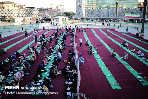 Quran recitation, Iftar banquet in one of Tehran's main squares