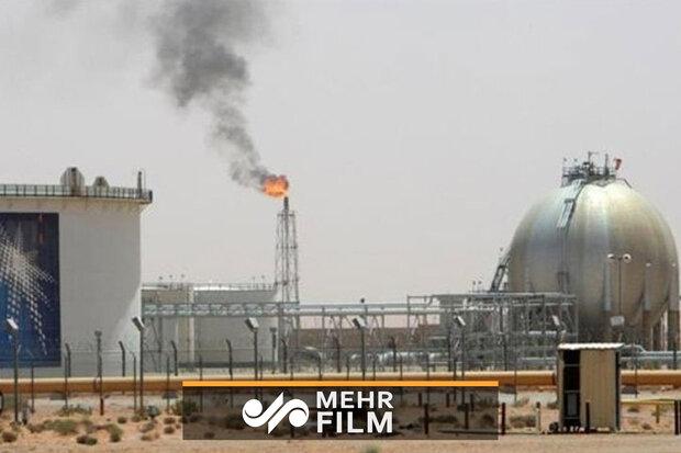 آتشسوزی تاسیسات نفتی عربستان پس از حمله پهپادی یمن