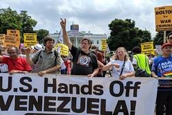 تظاهرات اعتراضی علیه حمله پلیس آمریکا به سفارت ونزوئلا