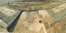 The ruins of the eastern gate of a newly-discovered fortress in Egypt.