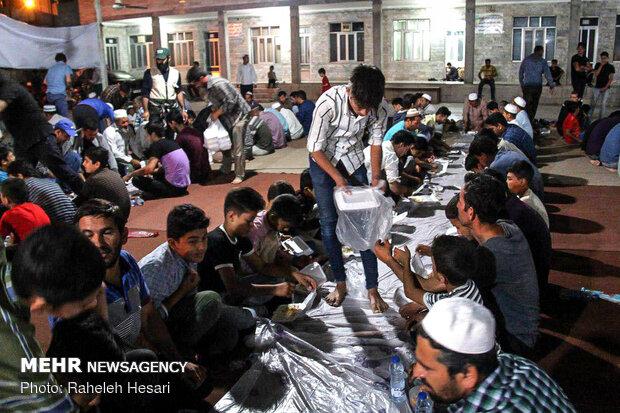 Sunni community break fasting (Iftar) in Aqqala