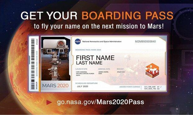 ناسا نام افراد را به مریخ  می برد