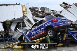 بلایی که طوفان بر سر یک انبار فروش خودرو در امریکا آورد