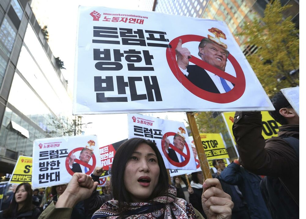 Protests in Japan against Trump's visit