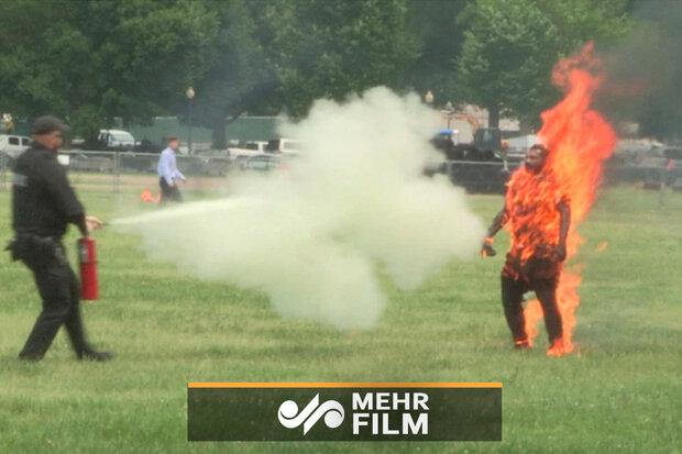 VIDEO: Man sets himself on fire near White House