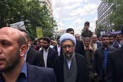 رئیس مجمع تشخیص مصلحت نظام در راهپیمایی روز قدس حضور یافت