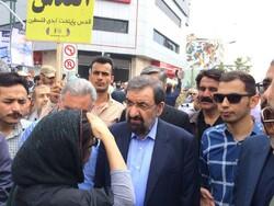 محسن رضایی در راهپیمایی روز قدس حاضر شد