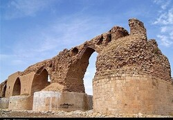 A view of the ruined Kashkan Bridge in Lorestan province.