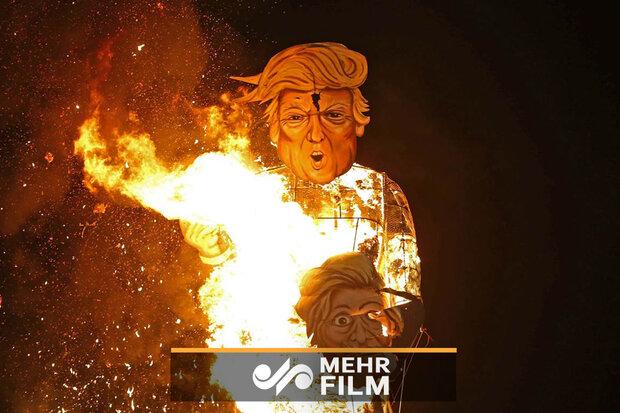 لحظه آتش زدن ترامپ در راهپیمایی روز قدس