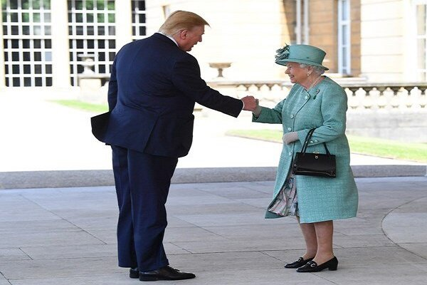 Trump's unusual handshake with British queen