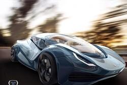 طرح اولیه از خودروی اسپرتی که به پهپاد تبدیل می شود