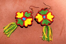 A pair of earrings richly ornamented with needlework
