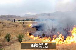 اخماد الحريق في سهول خوزستان / فيديو