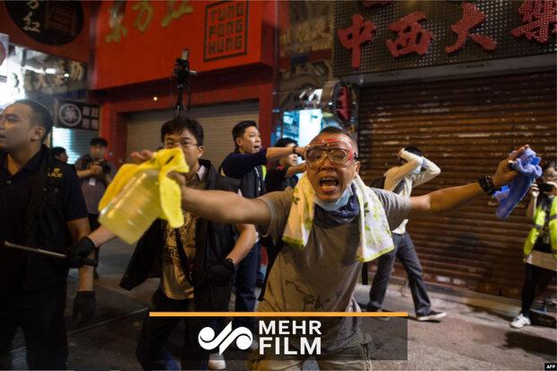 درگیری بین تظاهرکنندگان و پلیس در هنگکنگ