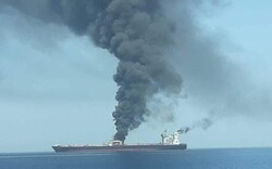 VIDEO:  Oil tankers on fire in Oman Sea after suspicious attack