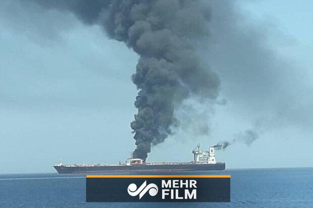 نخستین تصاویر از نفتکشهای منفجر شده در دریای عمان