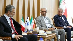 Gholam-Hossein Shafeie head of ICCIMA (right)  Italian Ambassador to Iran Mauro Conciatori (left)
