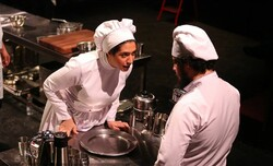 "Members of the Leev Theater Group led by director Hassan Majuni perform Arnold Wesker's ""The Kitchen"" at Tehran's Paliz Theater on November 7, 2016. (Tehran Picture Agency/Milad Beheshti)"