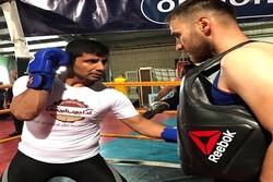 مبارزه کاپیتان تیم ملی کاراته روی رینگ باکو