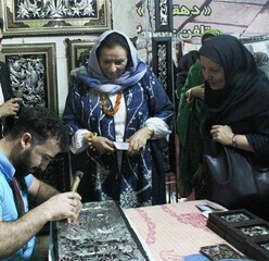 WCC-APR Director Ghada Hijavi visits a crafts workshop in Iran's Meybod, June 17, 2019.