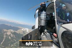 پرواز مخترع سوئیسی با «جت بال» برفراز کوههای ایتالیا