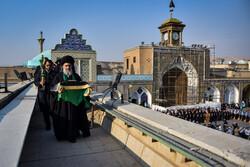 آیین تعویض پرچم گنبد حرم حضرت عبدالعظیم حسنی(ع)