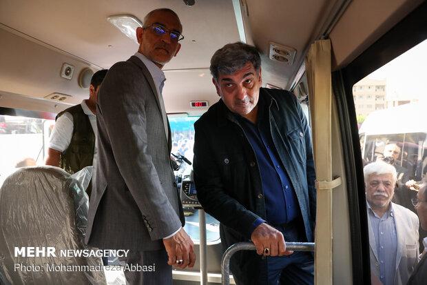 مراسم رونمایی و بهره برداری از ناوگان جدید اتوبوس و مینی بوسهای درون شهری