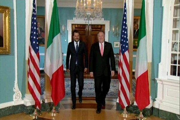 سالوینی و پمپئو دیدار کردند/حمایت از مذاکره بامسکوو انتقاد از پکن