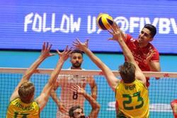 ایران اور آسٹریلیا کی والیبال ٹیموں کے درمیان مقابلہ