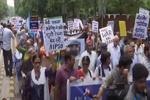 دہلی میں امریکی وزیر خارجہ کے دورہ ہندوستان کے خلاف مظاہرہ