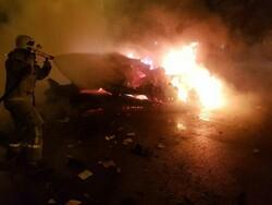 دو فوتی در تصادف نیمهشب اتوبان قم/یک جنازه کاملا سوخته بود