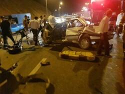 تصادف زنجیره ای در اتوبان تهران-قم/۲ نفر کشته و ۵ نفر مصدوم شدند