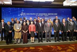Participants at the Asia-Pacific ICT Ministerial Meeting 2019, including Iran's ICT Minister Mohammad Javad Azari Jahromi, pose for a photo